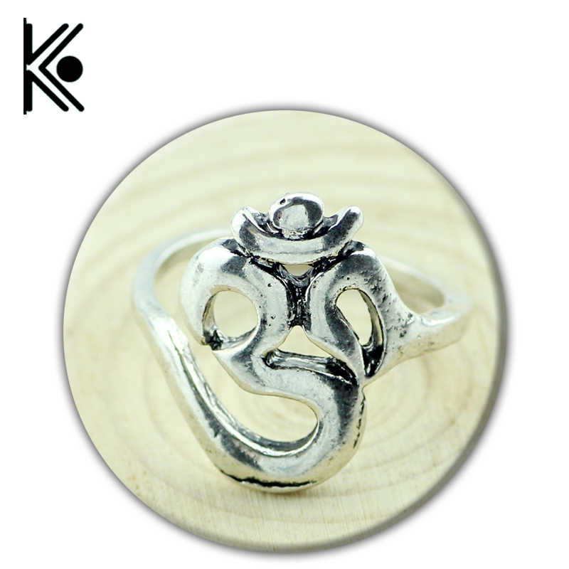 wholesale Hindoo Jewelry OHM Hindu Buddhist AUM OM Ring Hinduism Yoga India Outdoor Sport Women Ring Religious Symbol Jewelry