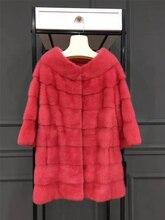 Arlene sain 2017 new whole skin mink fur coat color rose  pink  free shipping