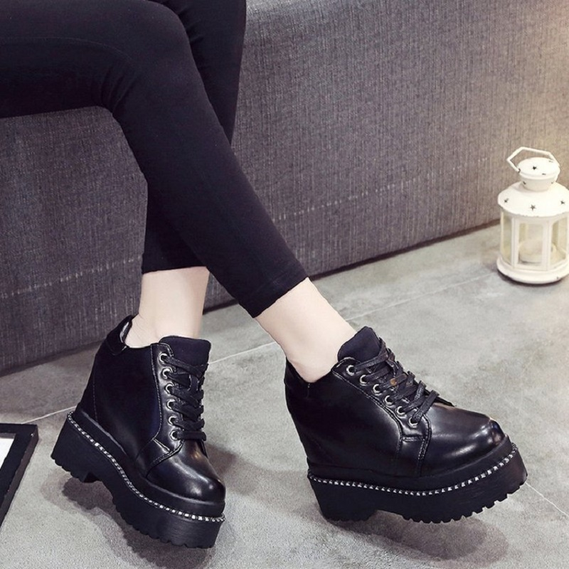 2018 Spring Autumn New Thick Waterproof Platform Graffiti Korean Shallow Mouth Shoes Cross Strap Fashion Women's Shoes 4