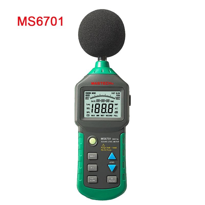 MASTECH MS6701 Auto Range Digital Sound Level Meter Decibel Tester with USB interface uyigao ua824 digital decibel sound level meter noise meter tester with max min hold 30dba 130dba range 9v battery included