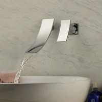 Hahn Tap Robinet Bath Faucet Grifo Contemporary Chrome Finish Waterfall Wall Mount Stainless Steel Bathroom Sink