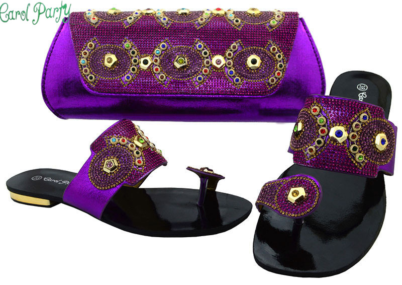 Ladies Italian Shoes and Bag Set Purple Sales In Women Matching Shoes and Bag Set Decorated with Diamonds Nigerian Shoes  BCH-37 bibiana njogo fdi determinants in pre and deregulated nigerian economy