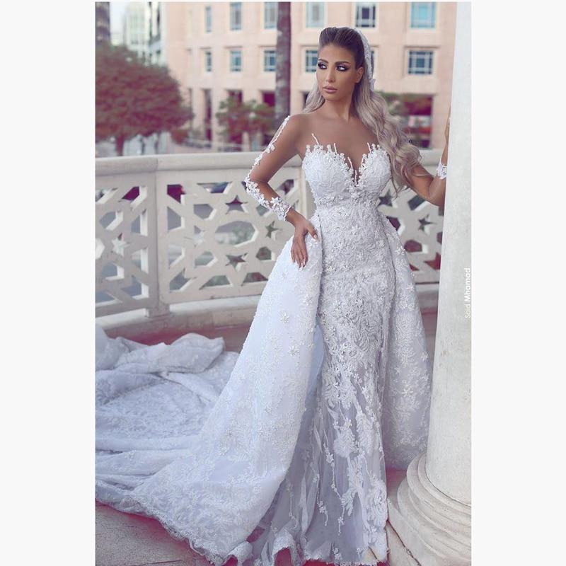 Long Evening Gowns For Wedding: Charming Lace Long Sleeves Big Train Wedding Dress Elegant