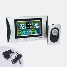 EU Plug Wireless Multi-use Colorful LCD Display Digital Alarm Clock Weather Station Indoor Thermometer Weather Forecast