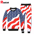 Men/Women 3D American Flag Print Suits Set Male Hip Hop Emoji O-Neck Sweatshirts+Pants Tracksuit Mens Hoodies Set Size S-XXL