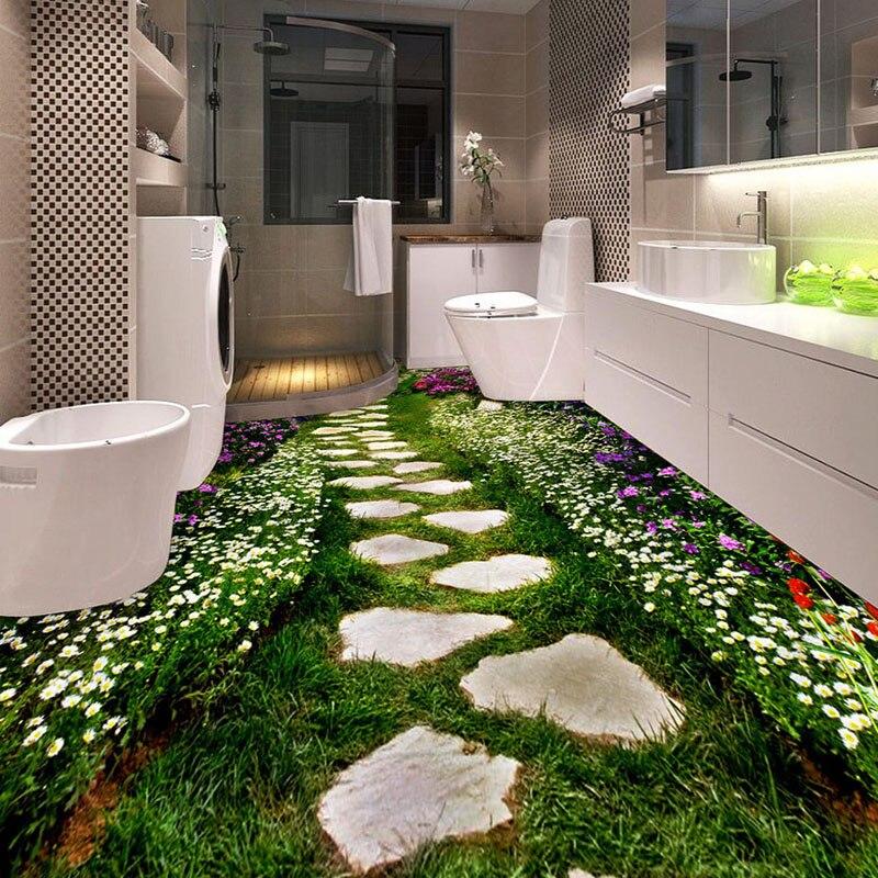 Modern Pastoral Path Flowers 3D Flooring Wall Paper Sticker Bathroom Wear Non-slip Waterproof PVC Self-adhesive Mural Wall Paper