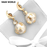 Fashion Girl Moon Letter Pearl Jewelry & Accessories Earring For Women Grils Fashionable Cute Jewelry