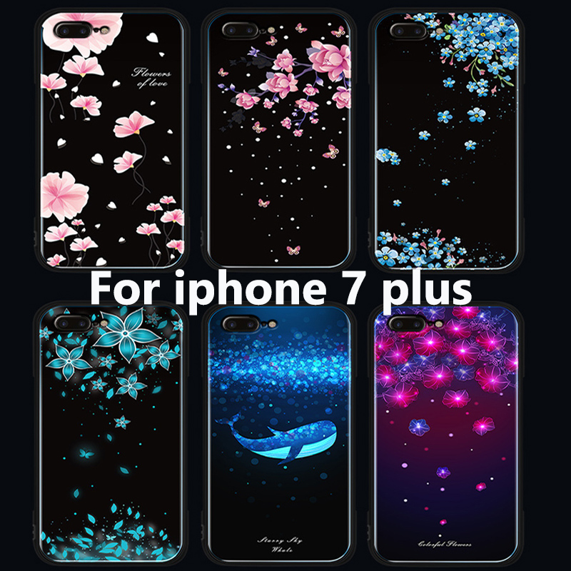 For iphone 7 plus case Tempered glass back cover For iphone7 plus case For iphone 7plus phone Cases iphone7plus fundas skin