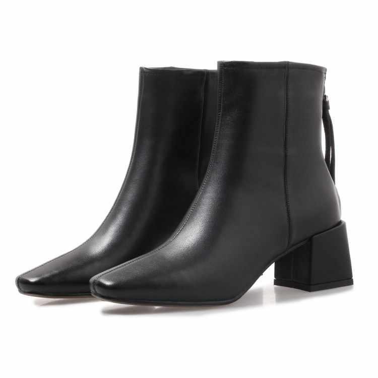 MLJUESE 2019 kadın yarım çizmeler inek deri roma tarzı siyah renk kare ayak yüksek topuklu sonbahar bahar çizmeler kadın botları