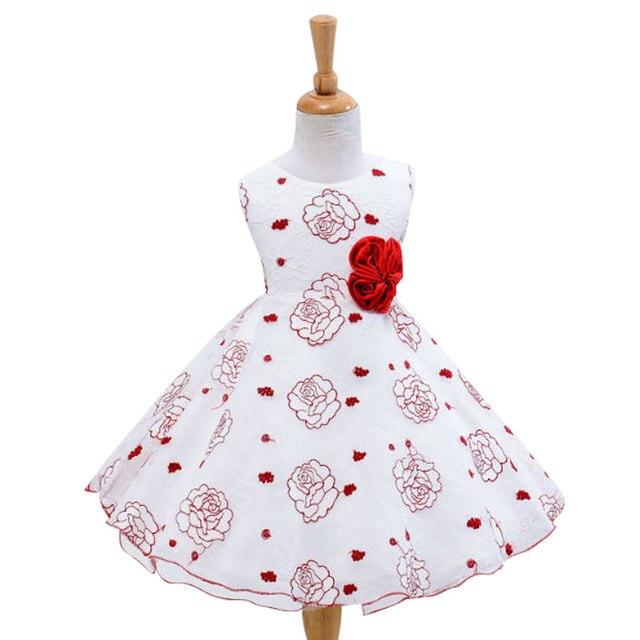 2016 baby girls dress girl's birthday party Wedding Dress  rose Net yarn princess dress baby christening  girls
