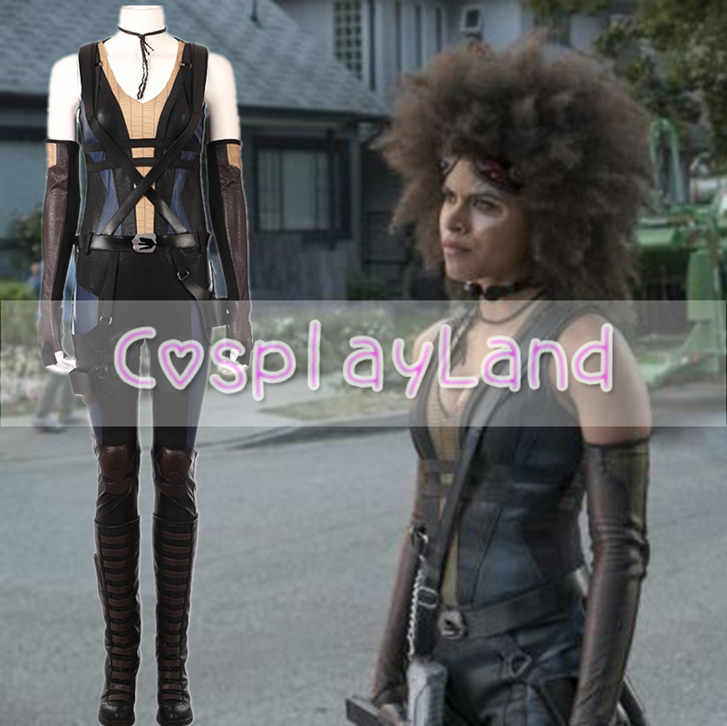 2018 Movie Deadpool 2 Costume Domino Costume Women Neena Thurman Cosplay Costume Halloween Costumes Suit Outfit Custom Made