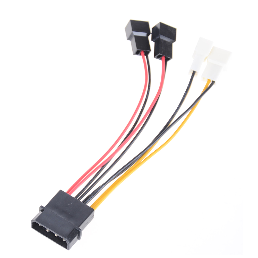 1X New 4-Pin Molex To 3-Pin Fan Power Cable Adapter Connector Computer Cooling Fan Cables 12v / 5v DC For CPU PC Case Fan