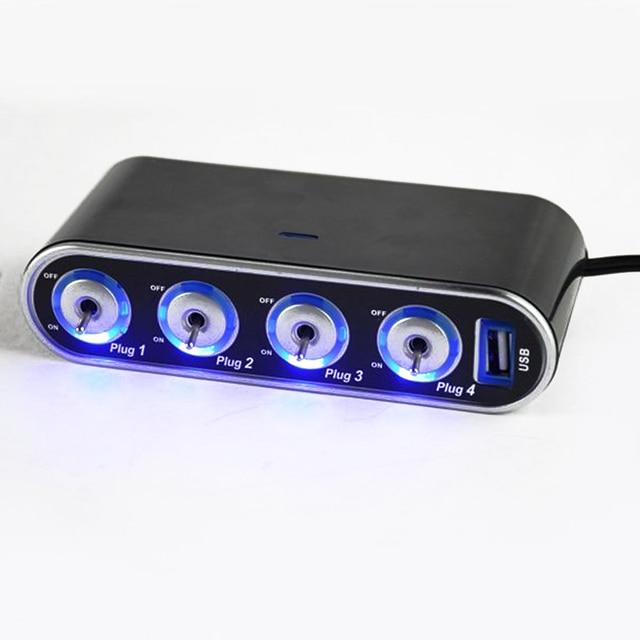 12V - 24V 4 Way Multi Socket Car Charger Vehicle Auto Car Cigarette Lighter Socket Splitter +USB Ports Plug Adapter