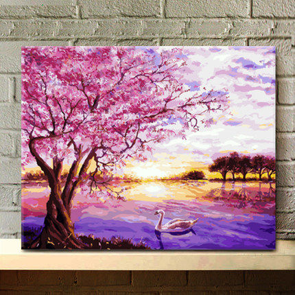 MaHuaf A100 Vintage landscape DIY oil painting by numbers on canvas ...