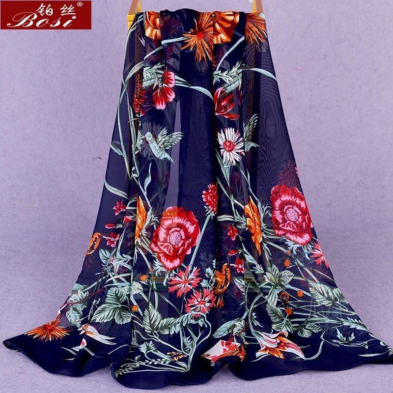 Chiffon Scarf Shawl Schal Scarves Poncho Women Scarfs Ethnic Big Flower Hijab Winter Scarfs Luxury Ladies Bohemian Retro Schal