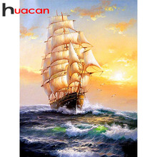 Huacan Diamond Painting Sailboat Embroidery Full Square/Round Rhinestones 5D Mosaic Landscape