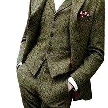 Твидовый мужской костюм, приталенный, 3 предмета, в клетку, на окна, формальные смокинги, шаль, костюмы с лацканами(Блейзер+ жилет+ брюки