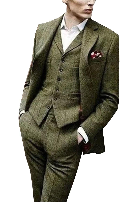 Tweed Men's Suit Slim Fit 3 Pieces Windowpane Check Formal Tuxedos Shawl Lapel Suits (Blazer+vest+Pants)