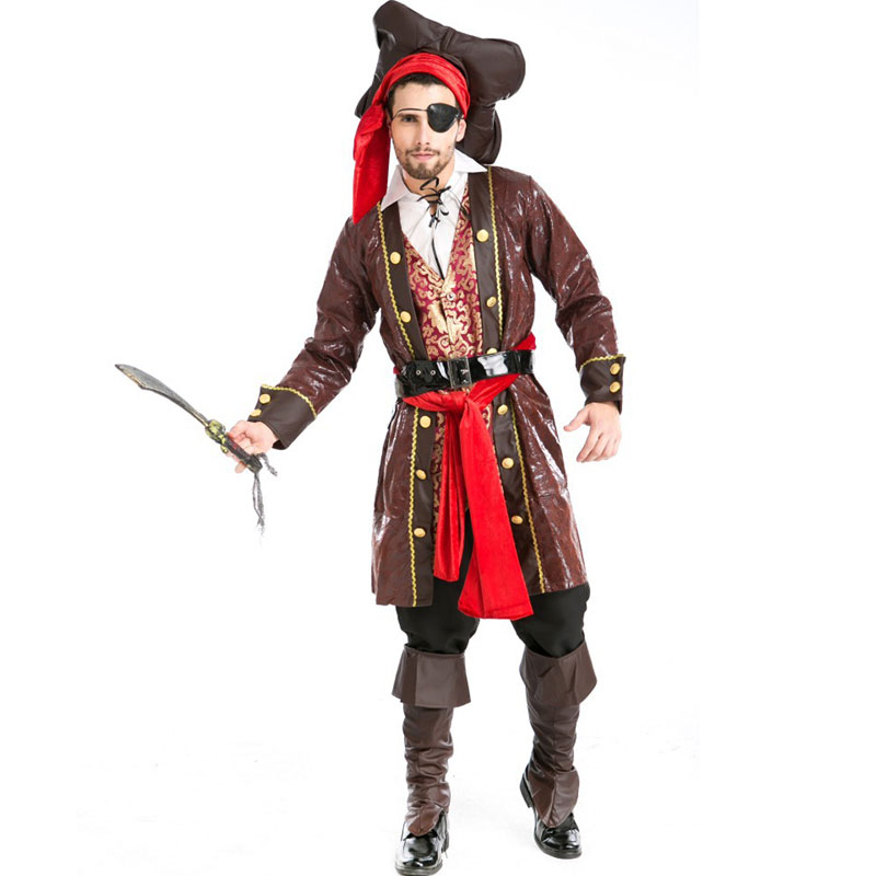 Halloween Costumes Adult Mens Deluxe Caribbean Pirate Costume Uniform Fancy Cosplay Clothing for Men