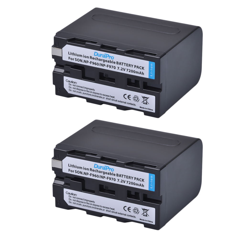 2Pack DuraPro 7200mAh NP-F960 NP-F970 NP F930 Battery for SONY F950 F960 F330 F550 F570 F750 F770 MC1500C 190P 198P F950 HD1000C