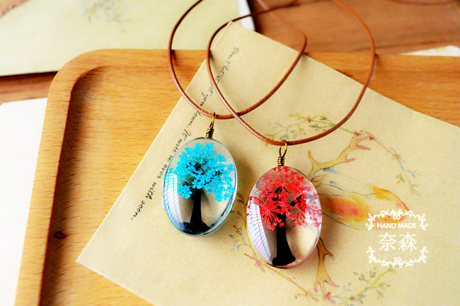 HTB1vUo4QXXXXXcHaXXXq6xXFXXXn - Handmade Natural Dry Flowers Life Tree Long Necklaces & Pendants