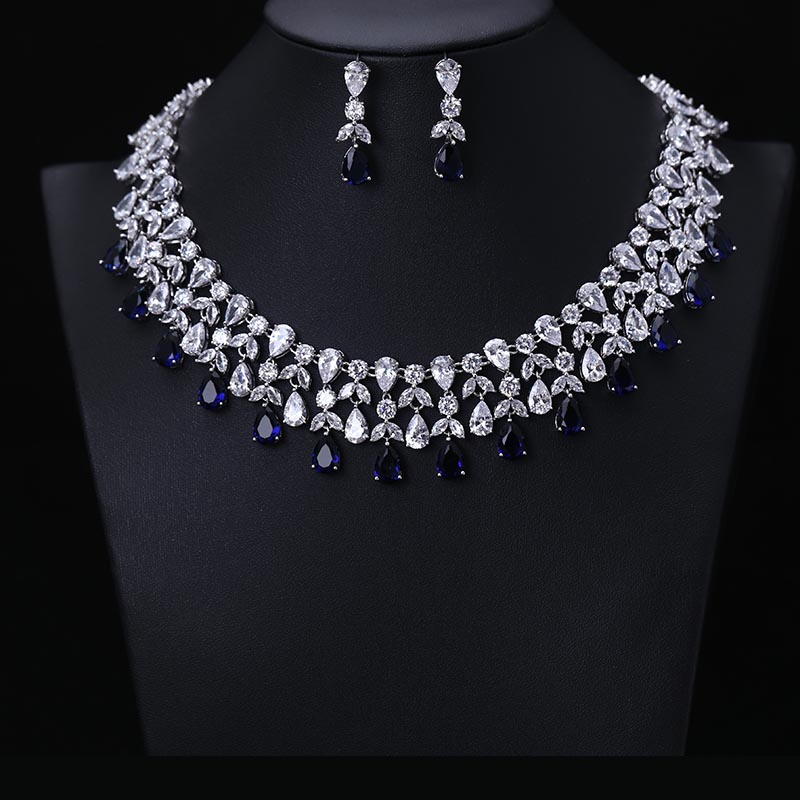 Newest Luxury Sparking Brilliant Cubic Zircon Earrings Necklace Set Heavy Dinner Jewelry Sst Wedding Bridal Dress Accessories
