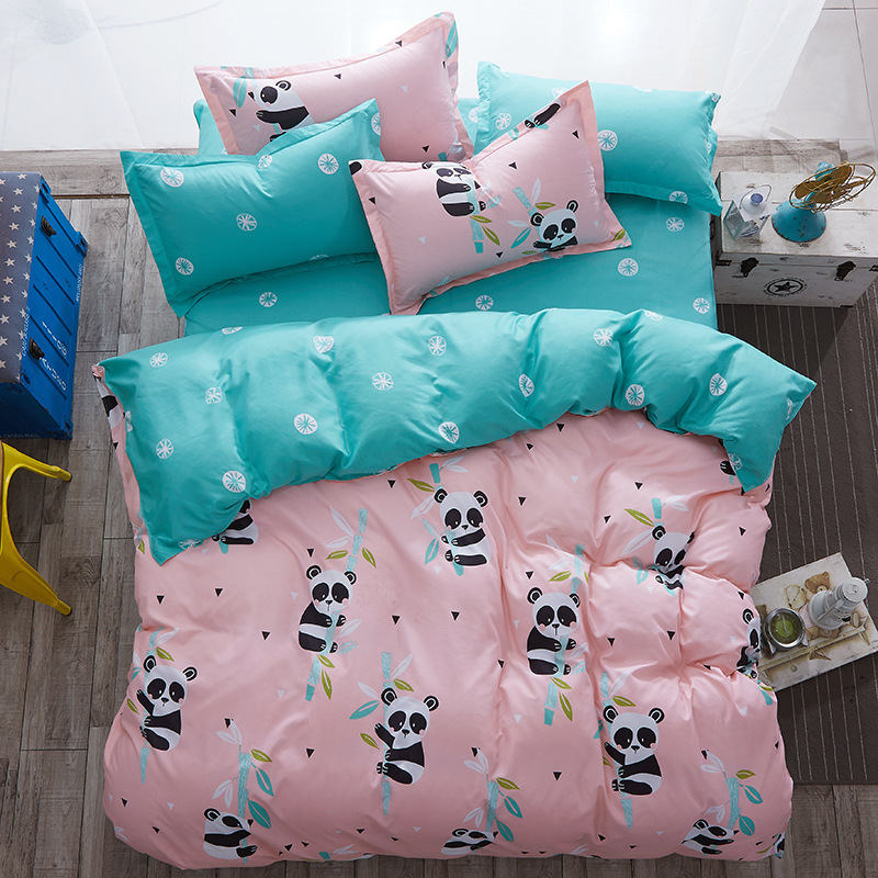 Cartoon Panda 4pcs Girl Boy Kid Bed Cover Set Duvet Cover Adult Child Bed Sheets And Pillowcases Comforter Bedding Set 2TJ-61010