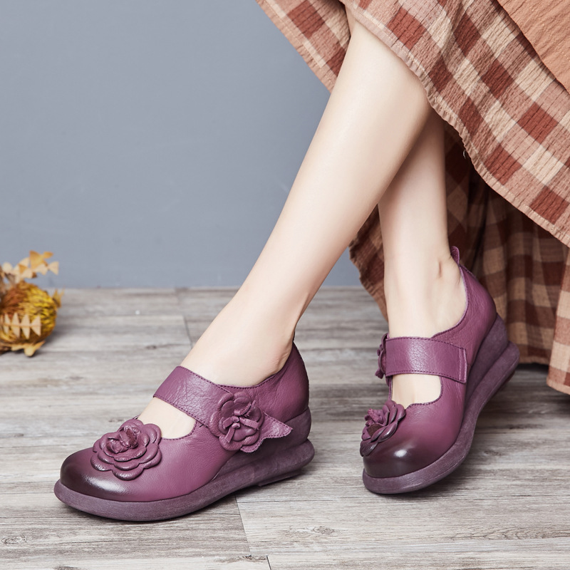 ФОТО Full leather casual women shoes wedges high heel retro thick with ladies platform shoes national wind