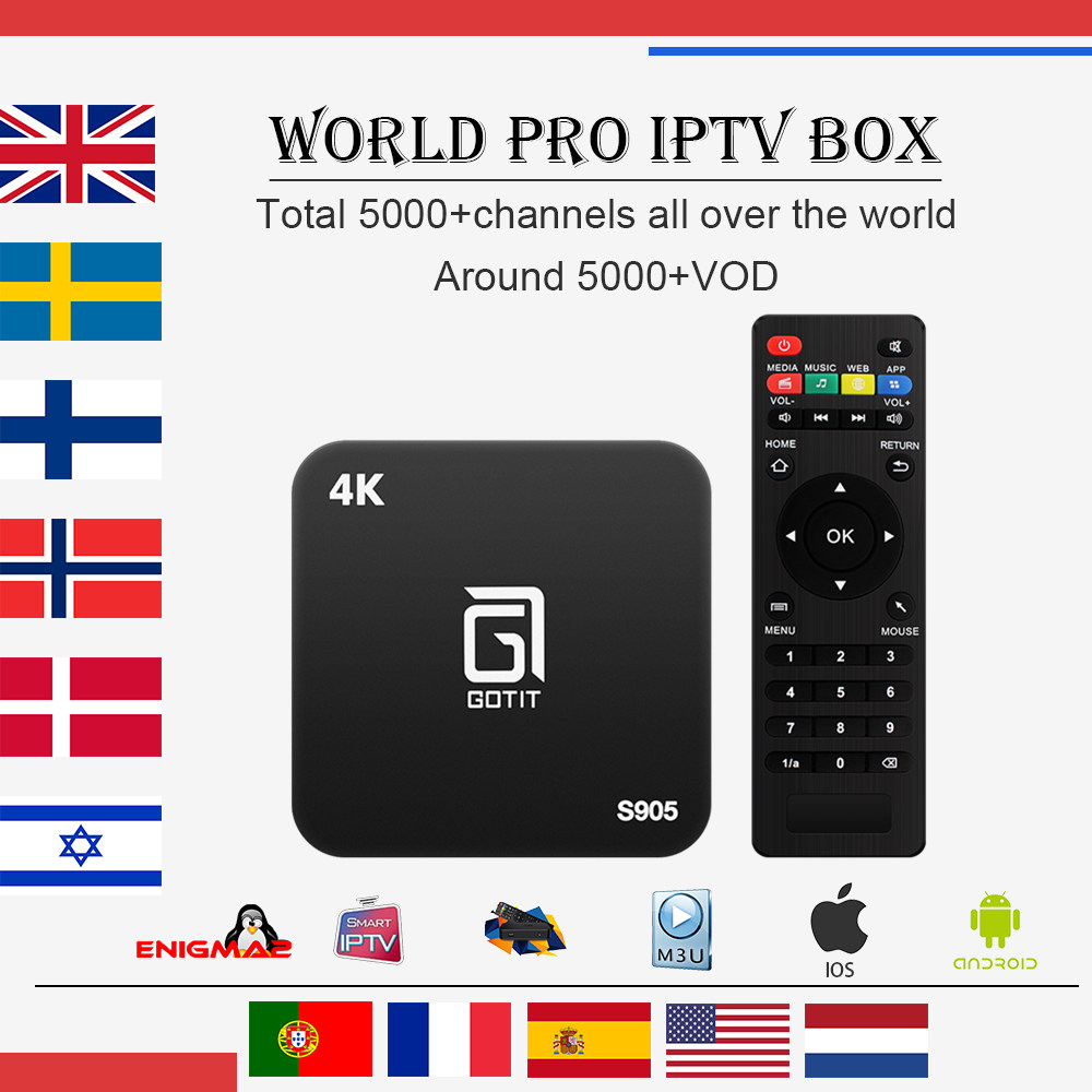 Best Gotit S905 Android TV Box with 1 Year 4700 Arabic European Arabic French Italy UK