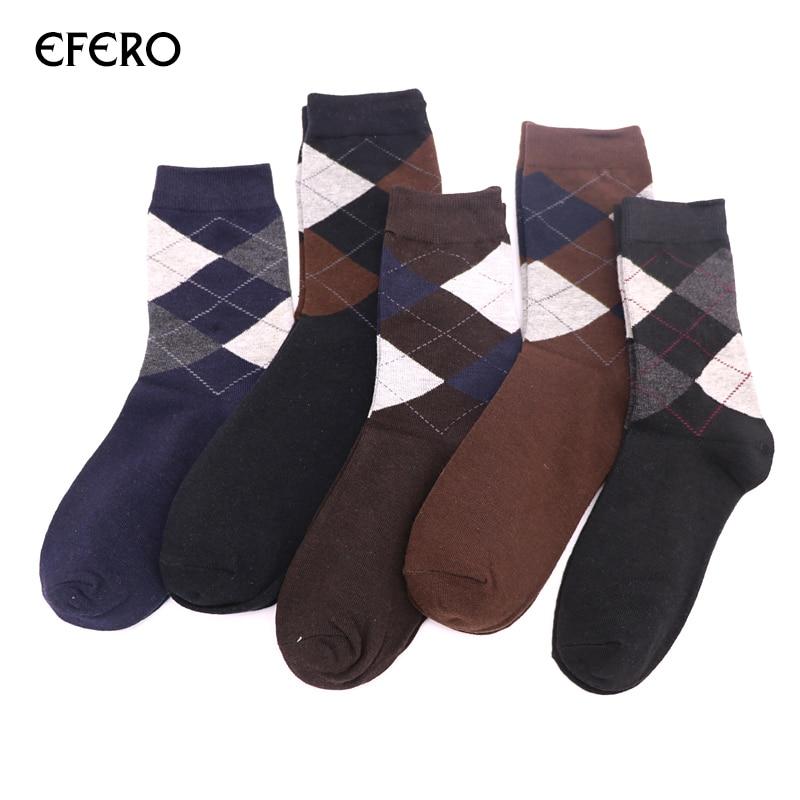 efero Cotton Men Winter Sock Warm Socks Fashion Business Mens Socks Funny Rhombus Pattern Male Dress Art Sock Compression 2Pair