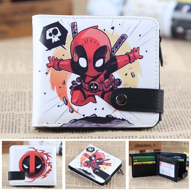 Chibi Deadpool PU Short Zero Wallet/Coin Purse/Multilayer Double-button Wallet moana maui high quality pu short wallet purse with button