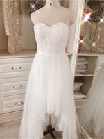 Romantic Sweetheart Off Shoulder Heavy Pearls Sexy Backless High Low Beach Wedding Dress 2018 Luxury Plus