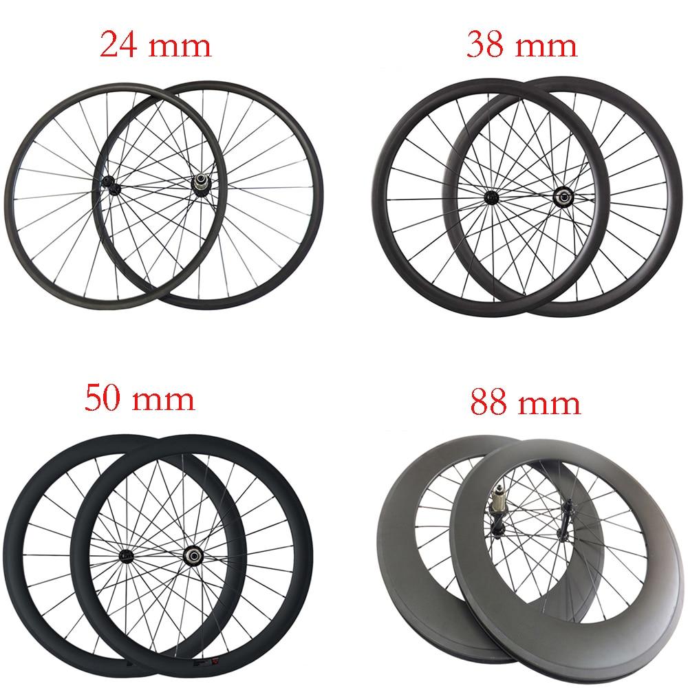 700C Carbon Wheels 38//50mm Depth Ultra Light 23mm Width Clincher Tubular Wheels