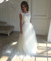 2017 New Lace O Neck Lace Tulle Boho Cheap Wedding Dresses Summer Beach Bridal Gown Bohemian
