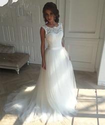 2017 new lace o neck lace tulle boho cheap wedding dresses summer beach bridal gown bohemian.jpg 250x250