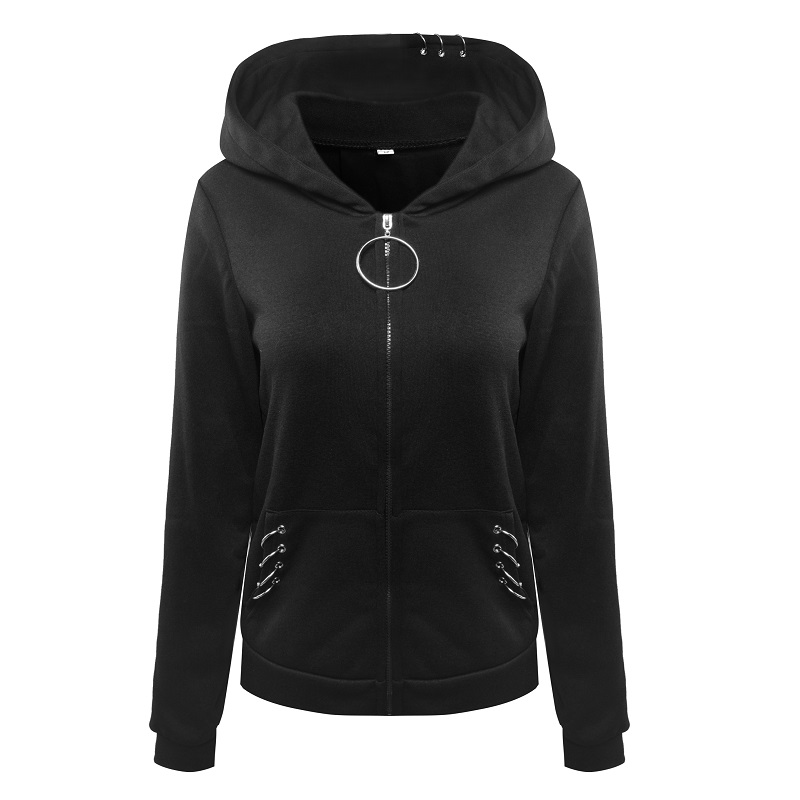 f1aadea9d70 Gothic Hoodies For Women Iron Rings Decoration Black Loose Hood Sweathirt  Long Sleeve Plus Size 5XL