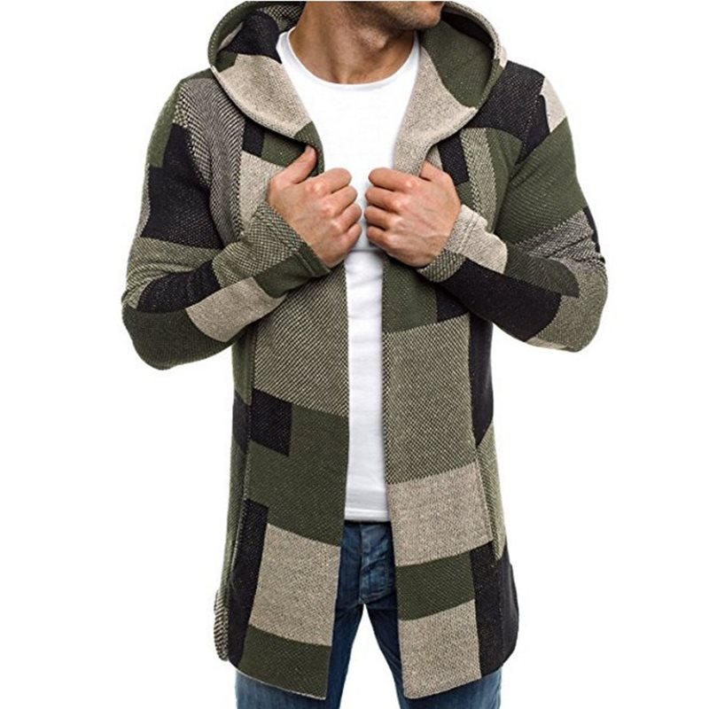 Men Hoodies Casual High Street Winter Green Plus Size Straight Hooded Plaid Tops Large Sizes Autumn Fashion Hot Sale Sweatshirts