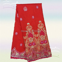 Latest Pattern Red Fuchsia Embroidery Raw Silk African George Lace Fabric For Evening Dress DGL18 1