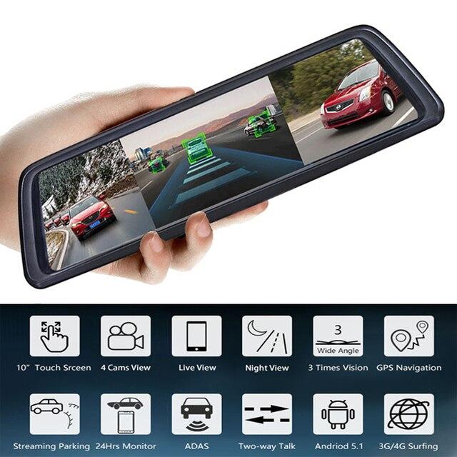 ANSTAR 10Screen ADAS Auto DVR Met 4 Camera S 4G FHD1080P Media Achteruitkijkspiegel 360 Graden Blind Zone Spiegel Recorder dash Cam
