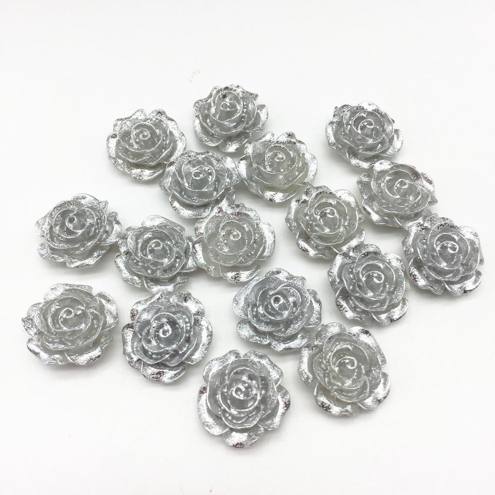10mm Roses x 20 Resin Flower Cabochons Winter White