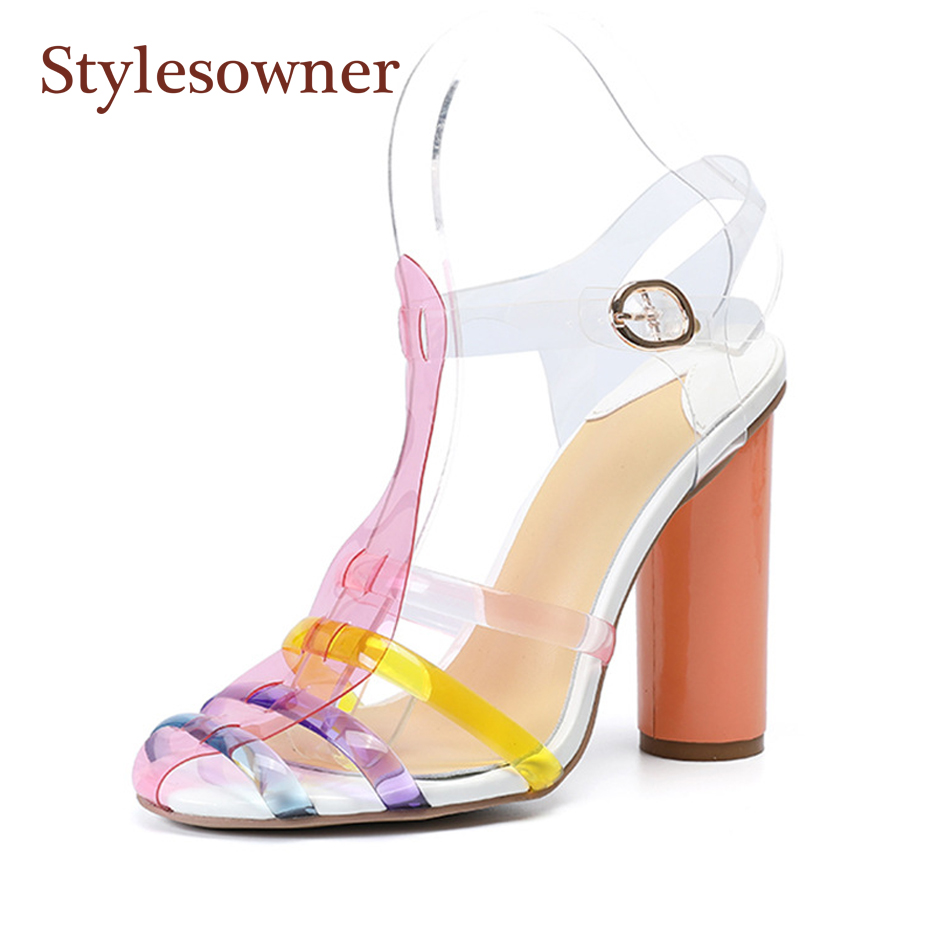 Stylesowner 2019 New Summer time Sandal Colourful Strap Spherical Heel PVC Crystal Straps Bohemia Sandal Footwear Reduce Out Vogue Sapatos Excessive Heels, Low-cost Excessive Heels, Stylesowner 2019 New Summer...