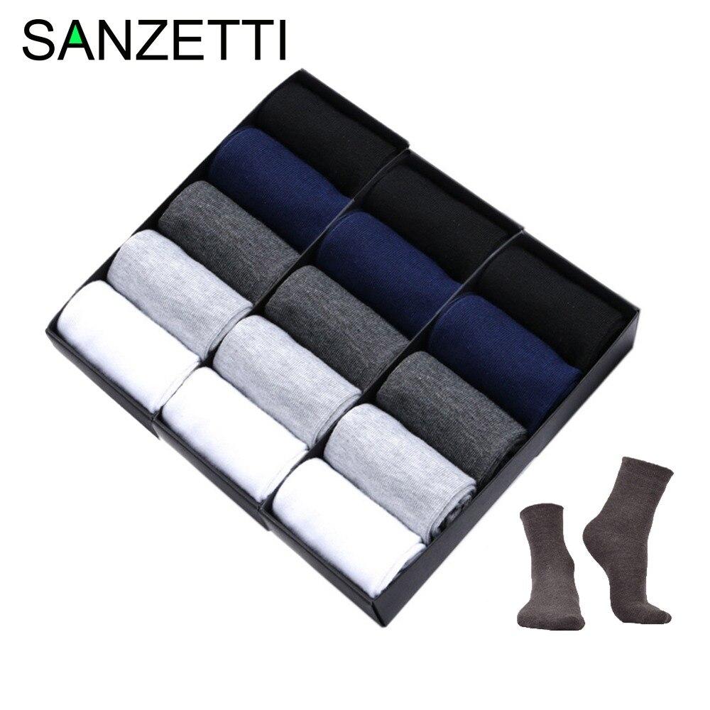 SANZETTI 15 пара/лот Мужские носки классический деловой бренд calcetines hombre мужские носки хлопчатобумажные спортивные носки платье носки черный НЕТ BOX