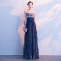 Sexy Strapless Sequin Lace Vestidos De Festa Fairy Pleated Tulle Backless A line Formal Long Evening Dresses Prom Party Gowns
