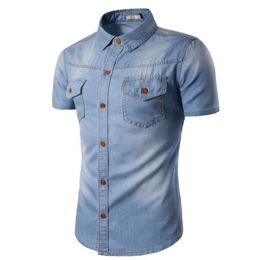 New Mens Jean Shirt 2017 Cotton Slim Fit Shirts short Sleeve Male Cowboy Shirt Size M-5XL
