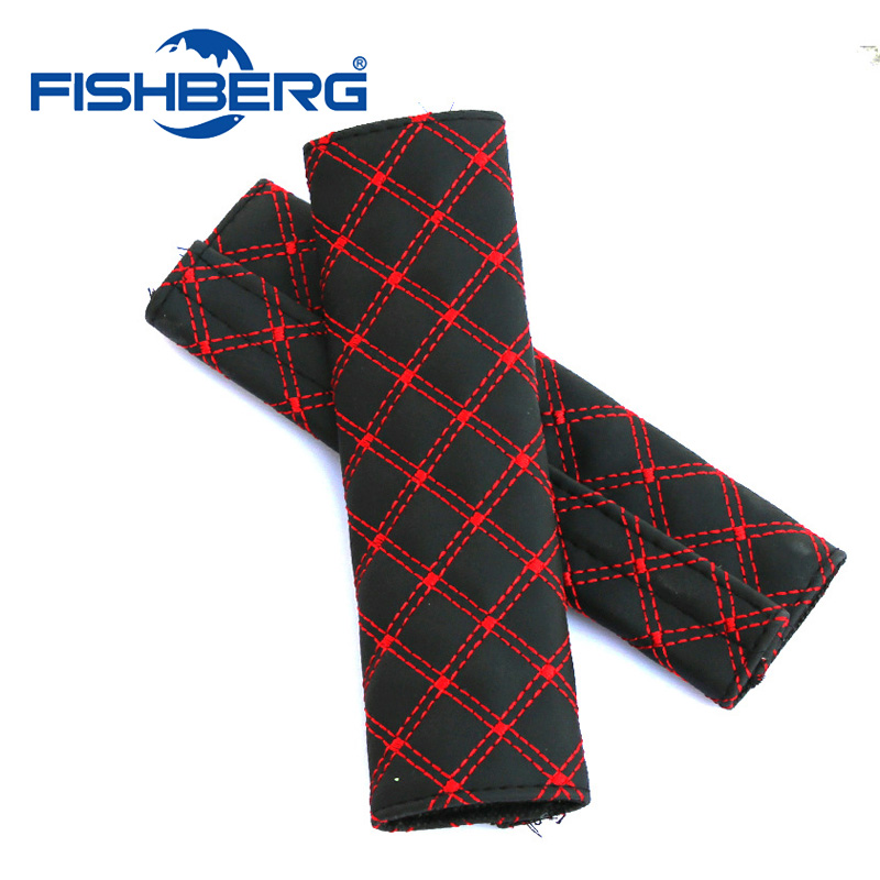 2PCS/Pair Car Safety Seat Belt Strap Soft Shoulder Pads Cover Red Faux Leather Cushion Harness Pad Protector FISHBERG цена