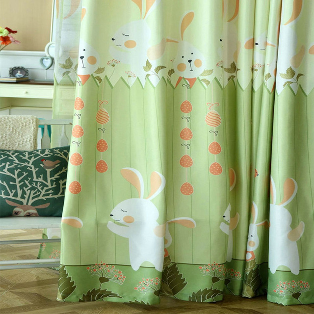 Cute Pink/Green Rabbit Fabric Cartoon Curtain Bedroom Baby Princess Curtain  For Living Room Children