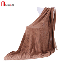 New 100% Cotton Knitted Blanket Fashion Minimalist Solid Summer Adults Home Sofa/Bed Leisure Time Portable Cover Thread Blankets