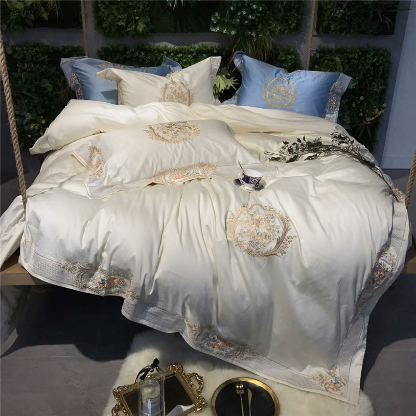 4Pieces Luxury Royal Wedding Bedding Set Queen King Size 100S Egyptian Cotton Embroidery Duvet Cover Bed Sheet Set Pillowcase