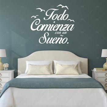 Spagnolo Quote Wall Stickers Uccelli Da Parete Camera Da Letto ...