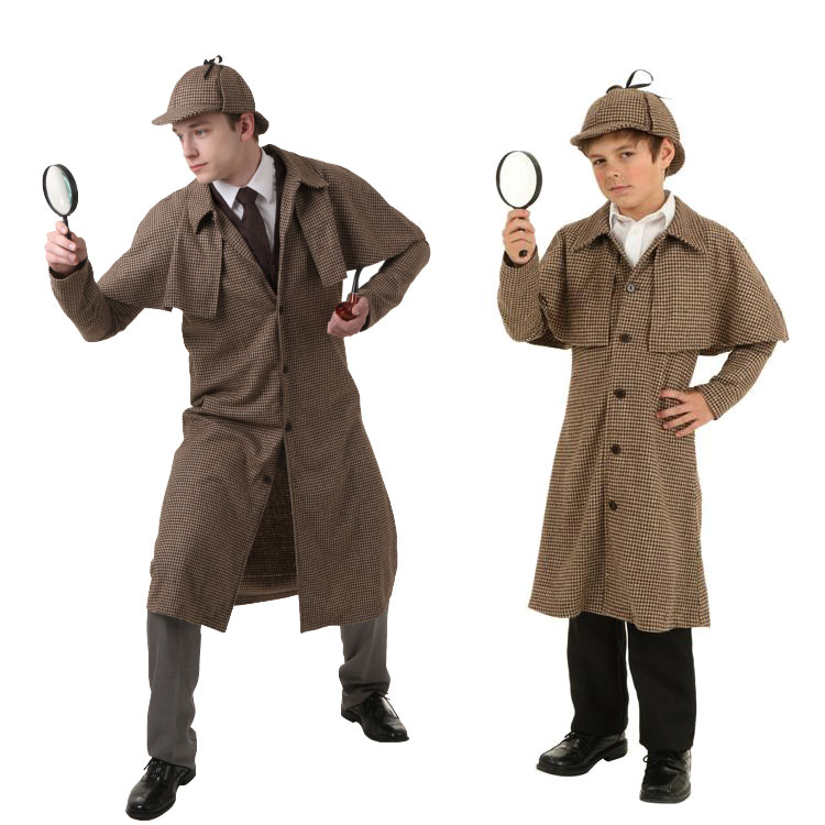 Kids/ Mens Sherlock Holmes Costumes Sherlock Holmes Plaid Coat With Cap Role Play Fancy Clothing Any Size Magnifying Glass /pipe